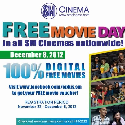 Free Movie Pass at all SM Cinema on December 8, 2012