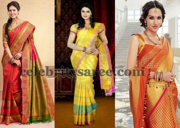 Orange and Bright Yellow Silk Saris