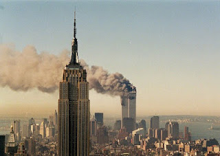 Empire State Building watches over New York as Twin Towers collapse