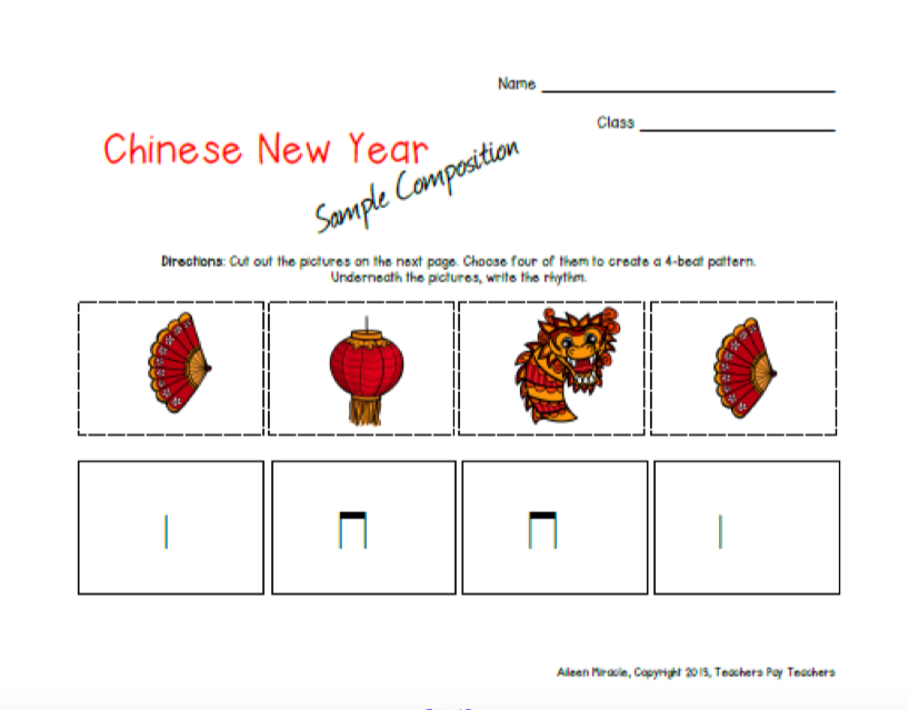 new year compositions using different chinese symbols and writing out the stick notation the words they could choose from were dragon lantern coin