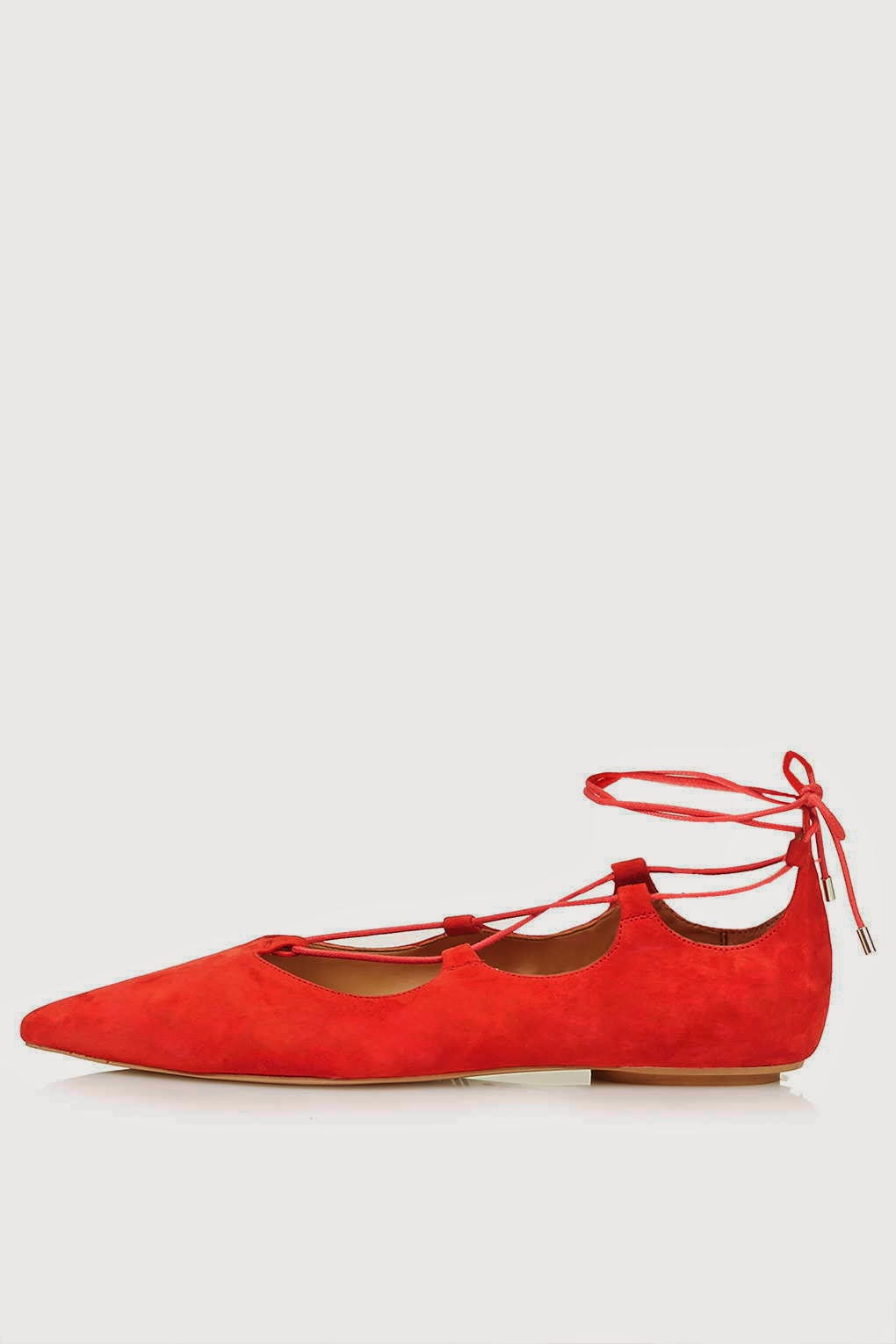 red lace tie-up flat shoes, red pointed shoes with ankle tie,