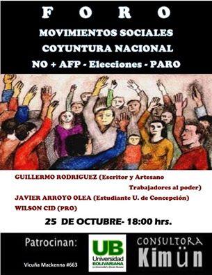 SANTIAGO: FORO, MOVIMIENTOS SOCIALES, CUYUNTURA NACIONAL