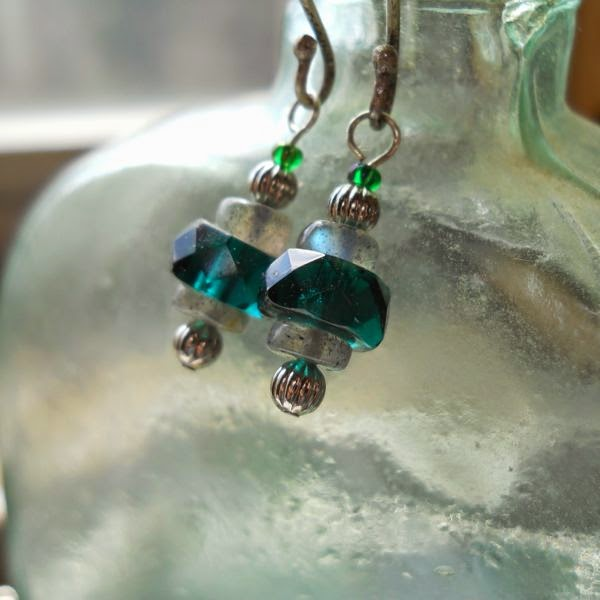 Silver, labradorite, emerald green glass earrings