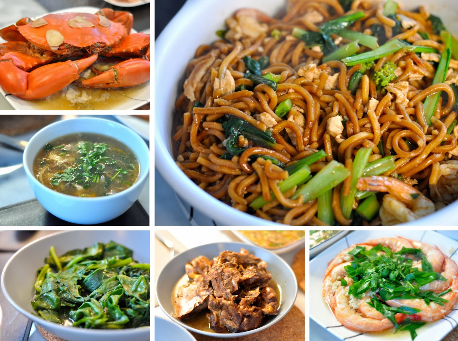 chao zhu mian foochow noodles crab sea cucmber soup di huang miao ceylon spinach lo ack braised duck prawns