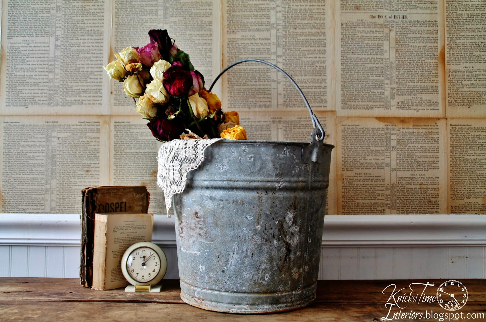 Vintage Galvanized Bucket Pail available from Knick of Time