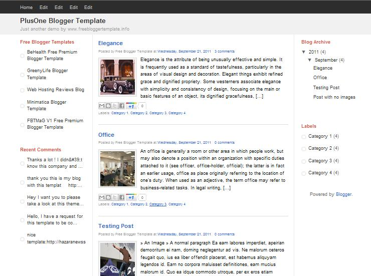 PlusOne Blogger Template