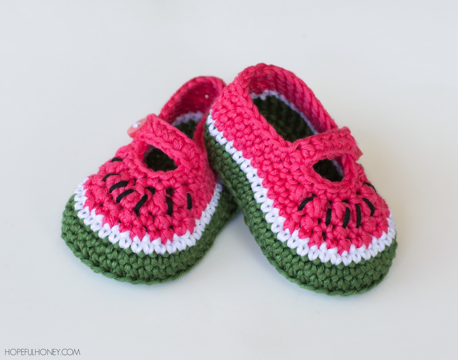 Crochet Baby Booties Pattern With Pictures : Hopeful Honey Craft, Crochet, Create: Watermelon Baby ...