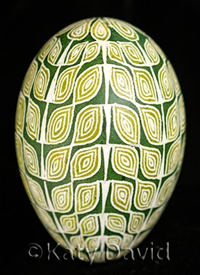 Friday Egg: Leaf Goose Egg Pysanky ©Katy David