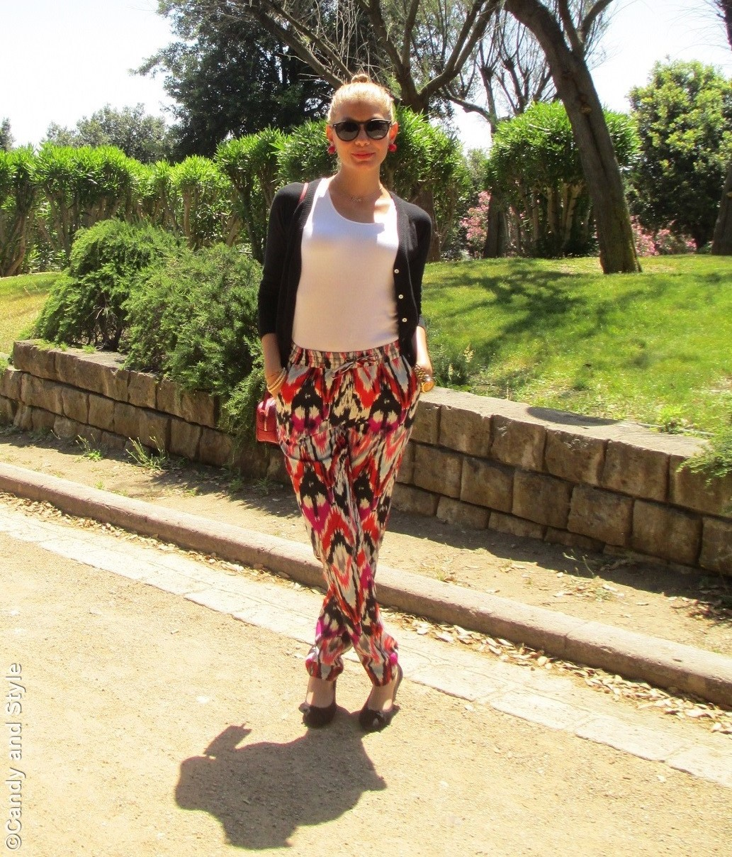 Black Cardigan, Loose Pants, Mini Bag, Excape Camo Sunglasses - Lilli Candy and Style Fashion Blog