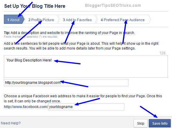 how to set up facebook page