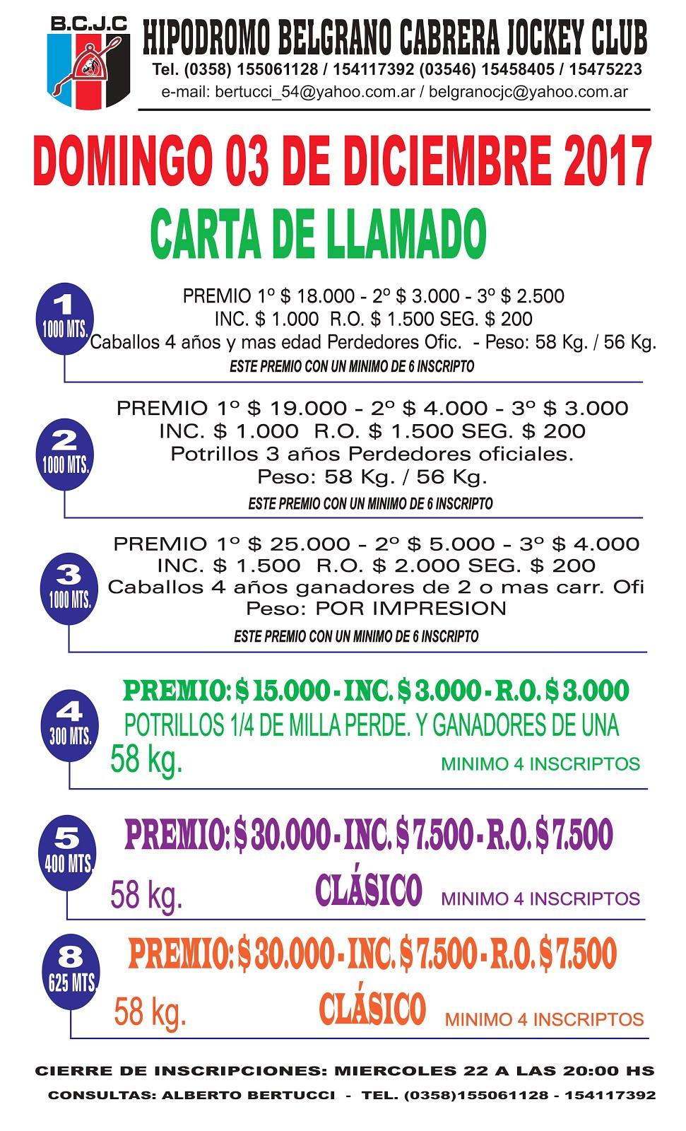 GENERAL CABRERA CARTA