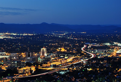 Roanoke City (Virginia) from Mill Mountain Star at Dusk
