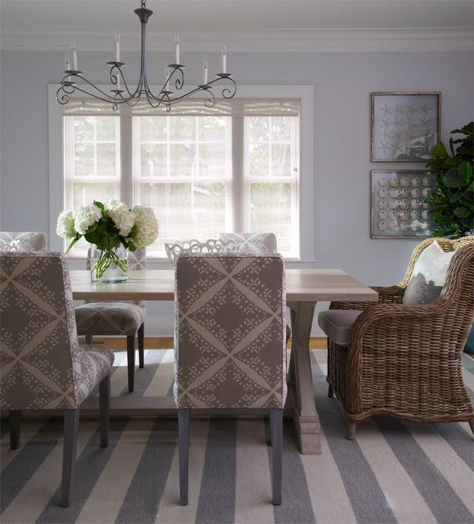 Gray stripes in a seaside cottage nbaynadamas furniture and interior - Grey fabric dining room chairs designs ...