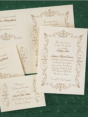 ... Wedding Invitations With Gold Text And Flourishes. Bling Was  Incorporated Via A Satin Ribbon With A Sizeable Cluster Of Crystals.
