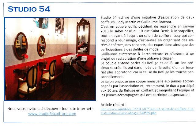 Article du journal B-info.refuge du mois d'août 2013 concernant le partenariat du Studio 54 avec l'association Le Refuge.