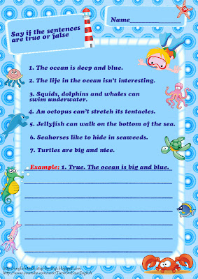 sea animals vocabulary true or false worksheet