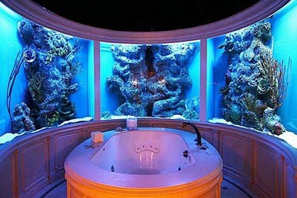 above: custom bathroom aquarium by City Aquarium