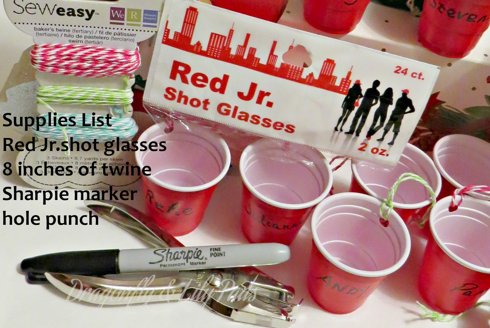 Sharpie Marker, Decroative Twine, Hole Punch, Red Jr. Shopt Glasses, Christmas Ornament Red Solo Cups