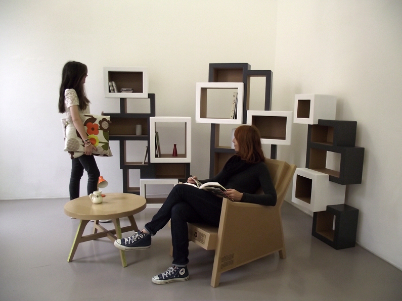 juliadesign meuble en carton fauteuil. Black Bedroom Furniture Sets. Home Design Ideas