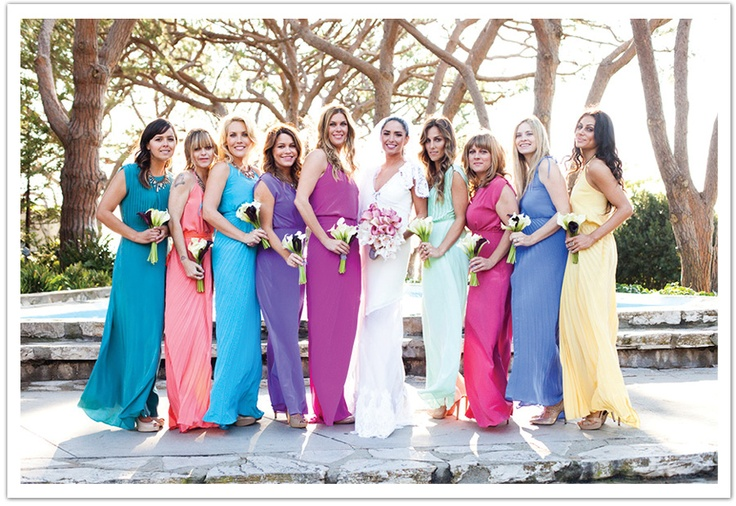 Can bridesmaids wear different colors wedding dresses asian for Different colored wedding dresses
