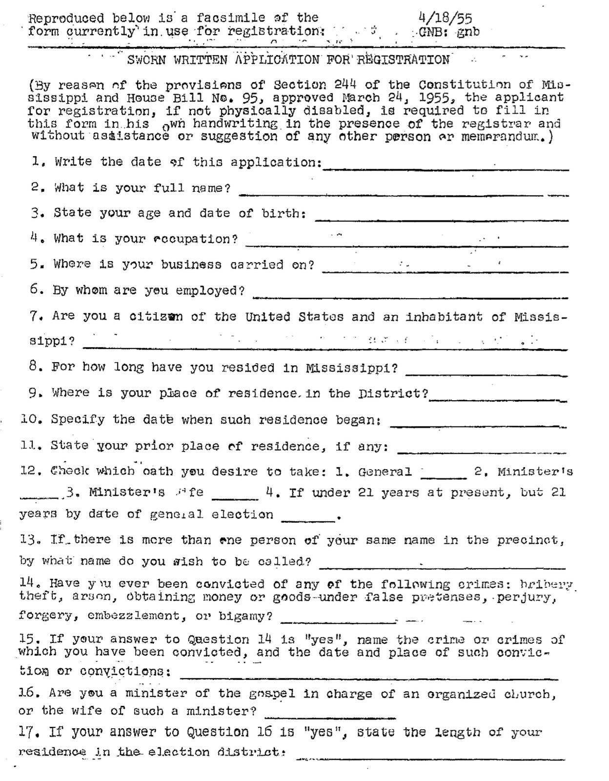 Understanding Society Voter registration Mississippi 1960 – Voter Registration Form