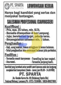 Bursa Kerja Lampung, Rabu 7 Januari 2015 di perusahaan PT. SPARTA