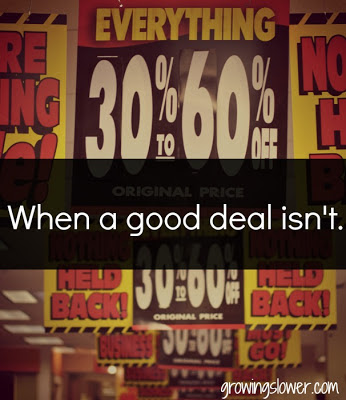 % off sale signs, when a good deal isn't.