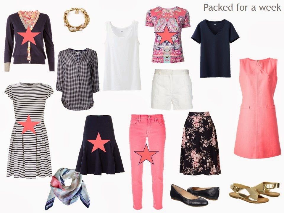 11 piece travel capsule wardrobe in navy, coral and white, for warm weather
