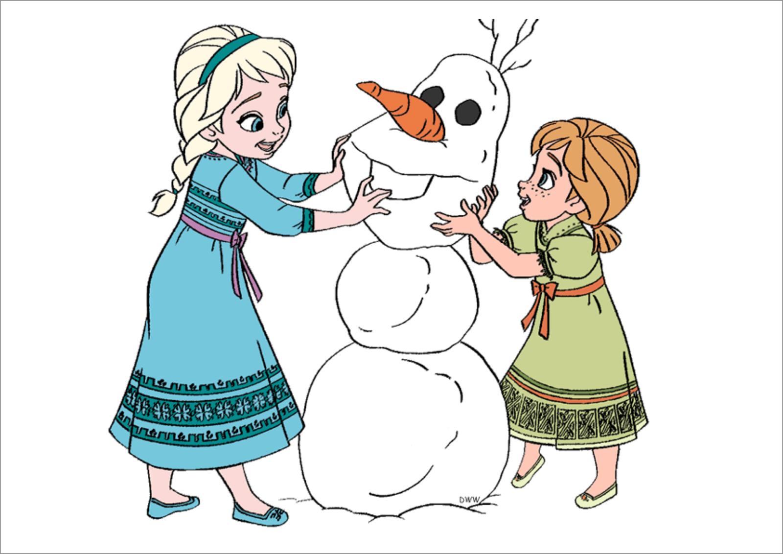 Elsa Anna e Olaf para imprimir