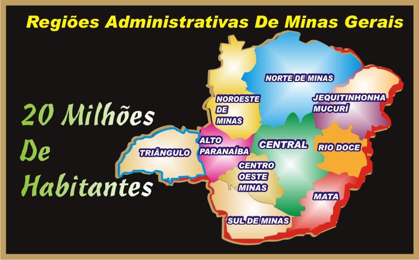 Mapa das Regiões Administrativas do Estado