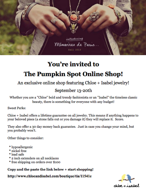 The Pumpkin Spot Chloe + Isabel online shop