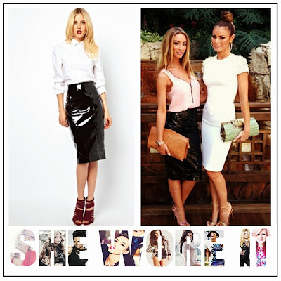TOWIE, Lauren Pope, ASOS, Black, Patent, PVC, PU, High Shine, Knee Length, Fitted, Pencil Skirt