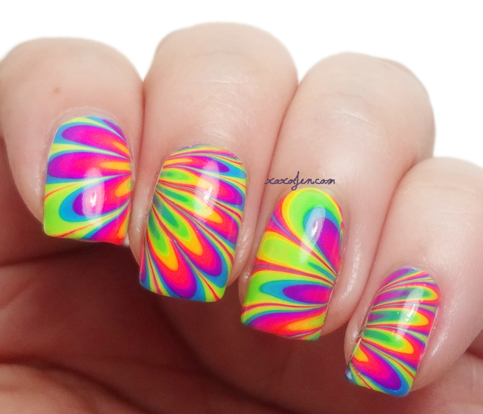 Xoxo jen neon rainbow water marble nail art xoxojens swatch of pipe dream polish neon water marble prinsesfo Gallery