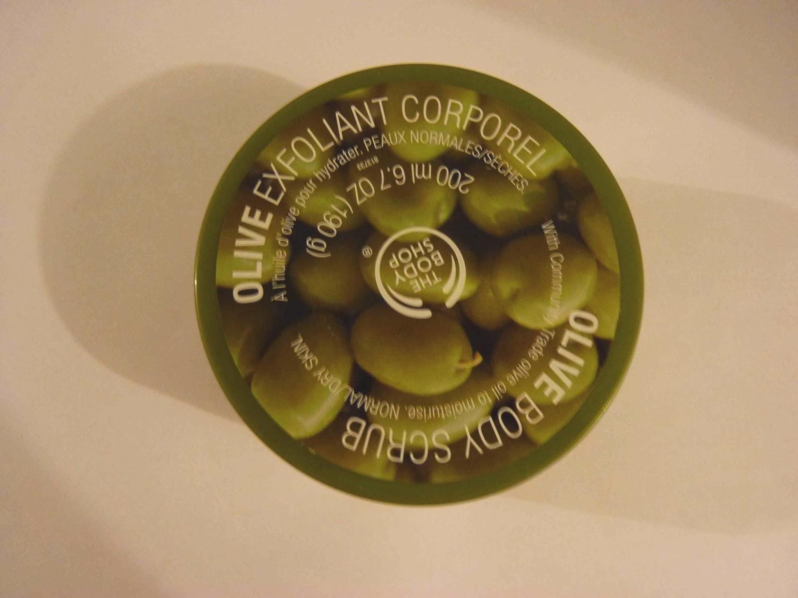 TBS, exfoliant corporel, exfoliant à l'olive the body shop,