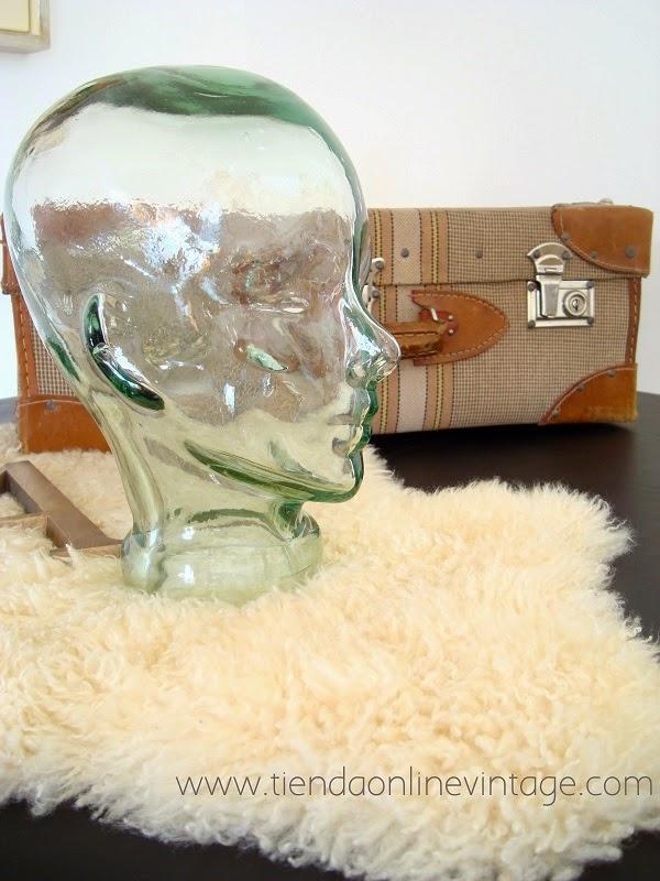 Cabezas de cristal vintage de vidrio para sombreros, tocados y cascos de música