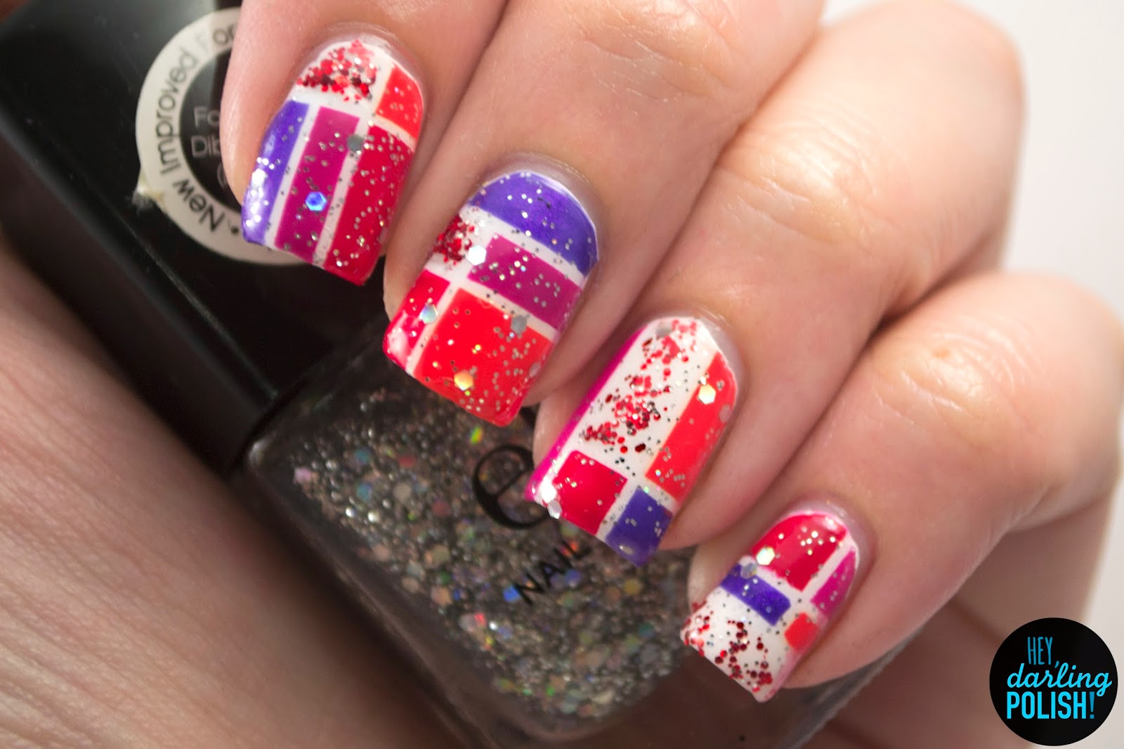 nails, nail art, nail polish, the never ending pile challenge, elf, color block, red, pink, purple, glitter, hey darling polish,
