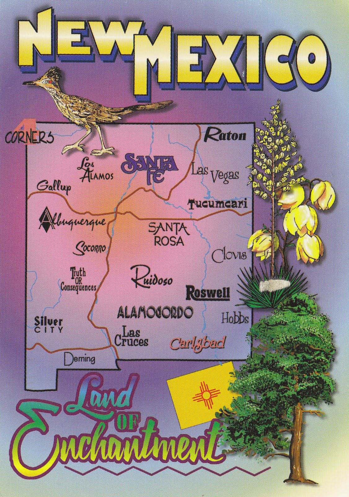 johan postcards United States New Mexico Mapcard