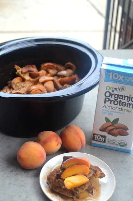 Slow Cooker Peach French Toast Casserole