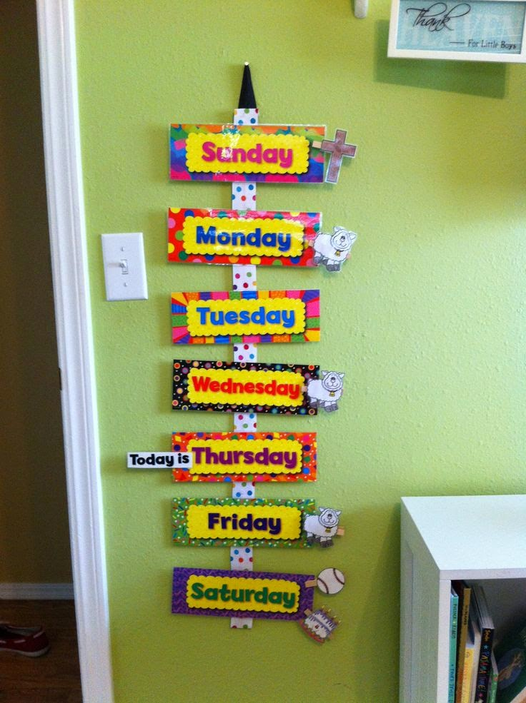 Classroom Decoration Charts For Kindergarten ~ Inglés para niños de infantil y primaria days of the week