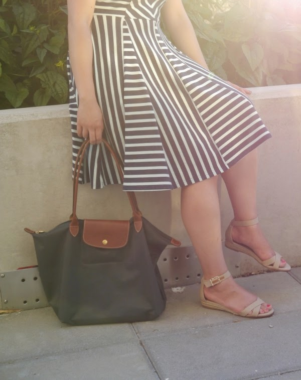Striped summer sun dress, J. Crew 'Marina' espadrille sandals, Longchamp 'Le Pliage' tote