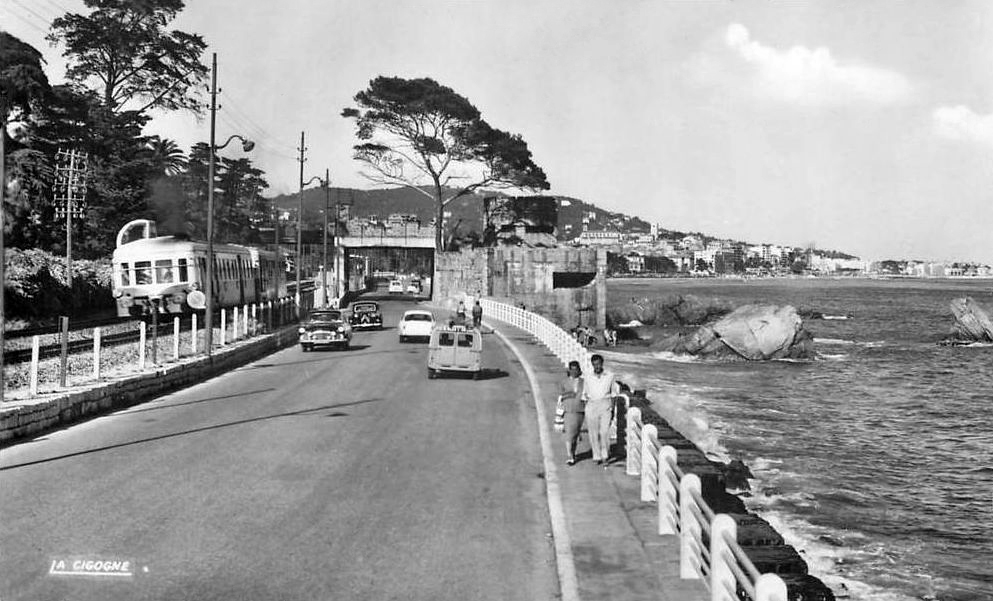 transpress nz road and rail traffic by the sea at cannes la bocca france late 1950s. Black Bedroom Furniture Sets. Home Design Ideas