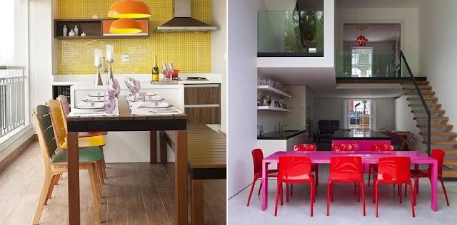 combinação de cores análogas na decoração: amarelo, laranja e verde (a esquerda) e violeta e vermelho (a direita)