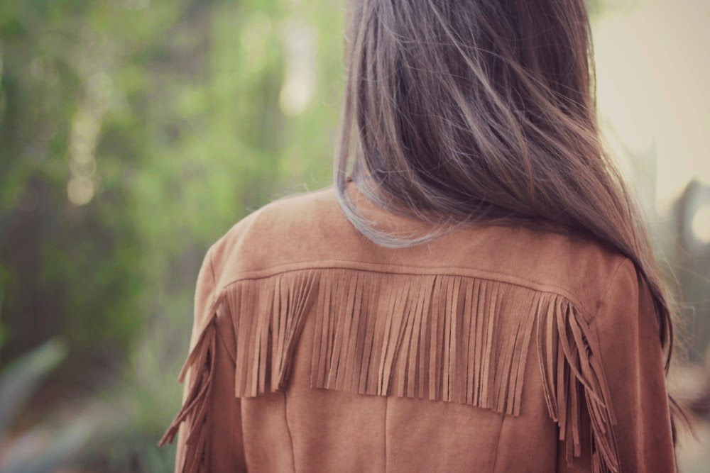 Brown Fringe Suede Zipper Motorcycle Jacket - Coachella and Bohemian