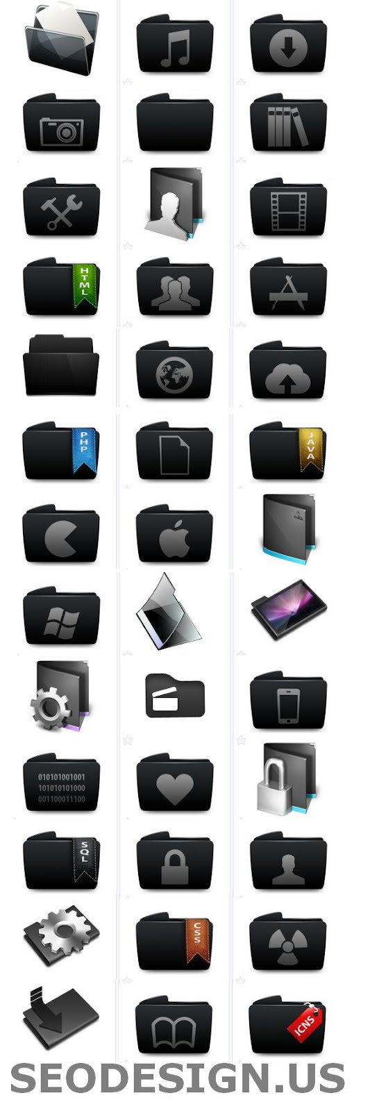 69 Free Vector Black Folders Icons Set Download