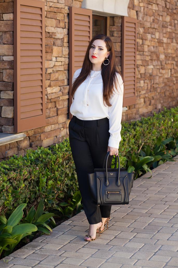 black and white work attire, leopard heels, celine bag