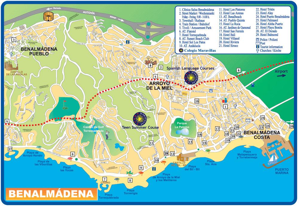 Map Of Hotels In Benalmadena Costa Del Sol