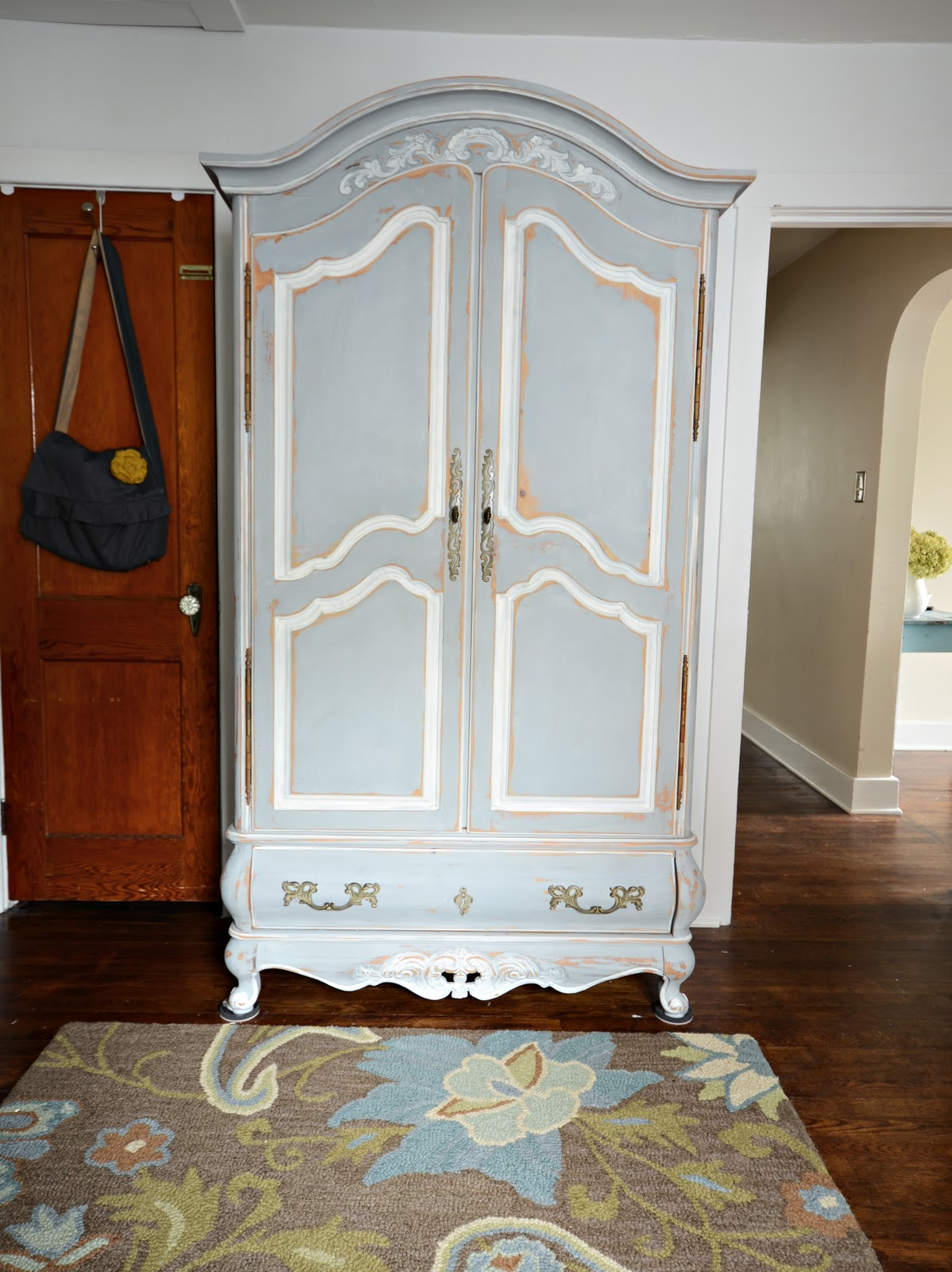 ... The Pine Armoire And Then Painted It In A Mixture Of ASCP Paris Gray  And Louis Blue. I Then Painted The Details In Old White, Distressed The  Edges And ...