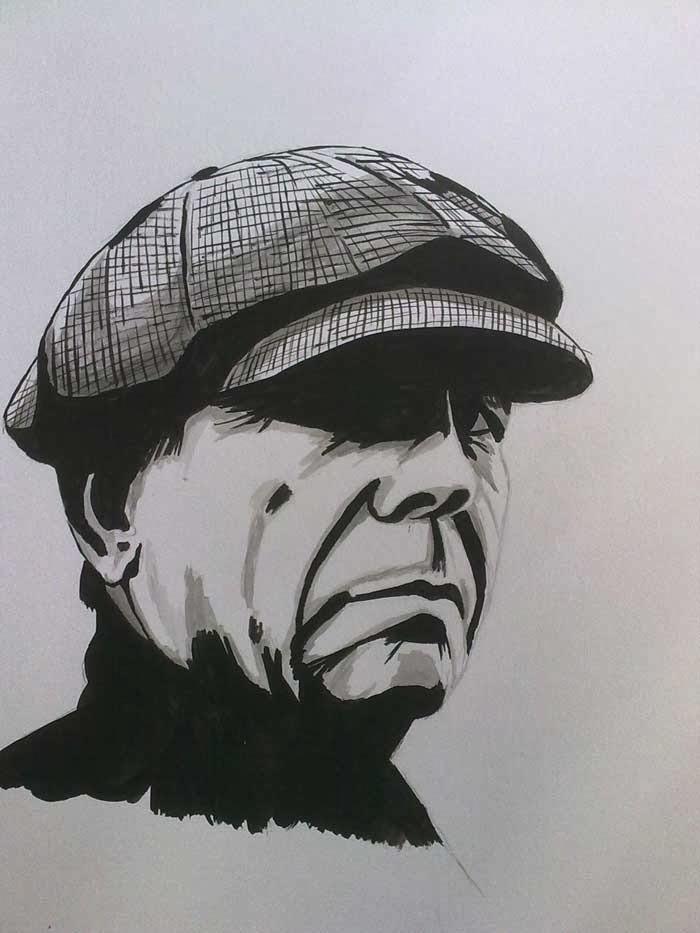 hombre con sombrero pintado con tinta