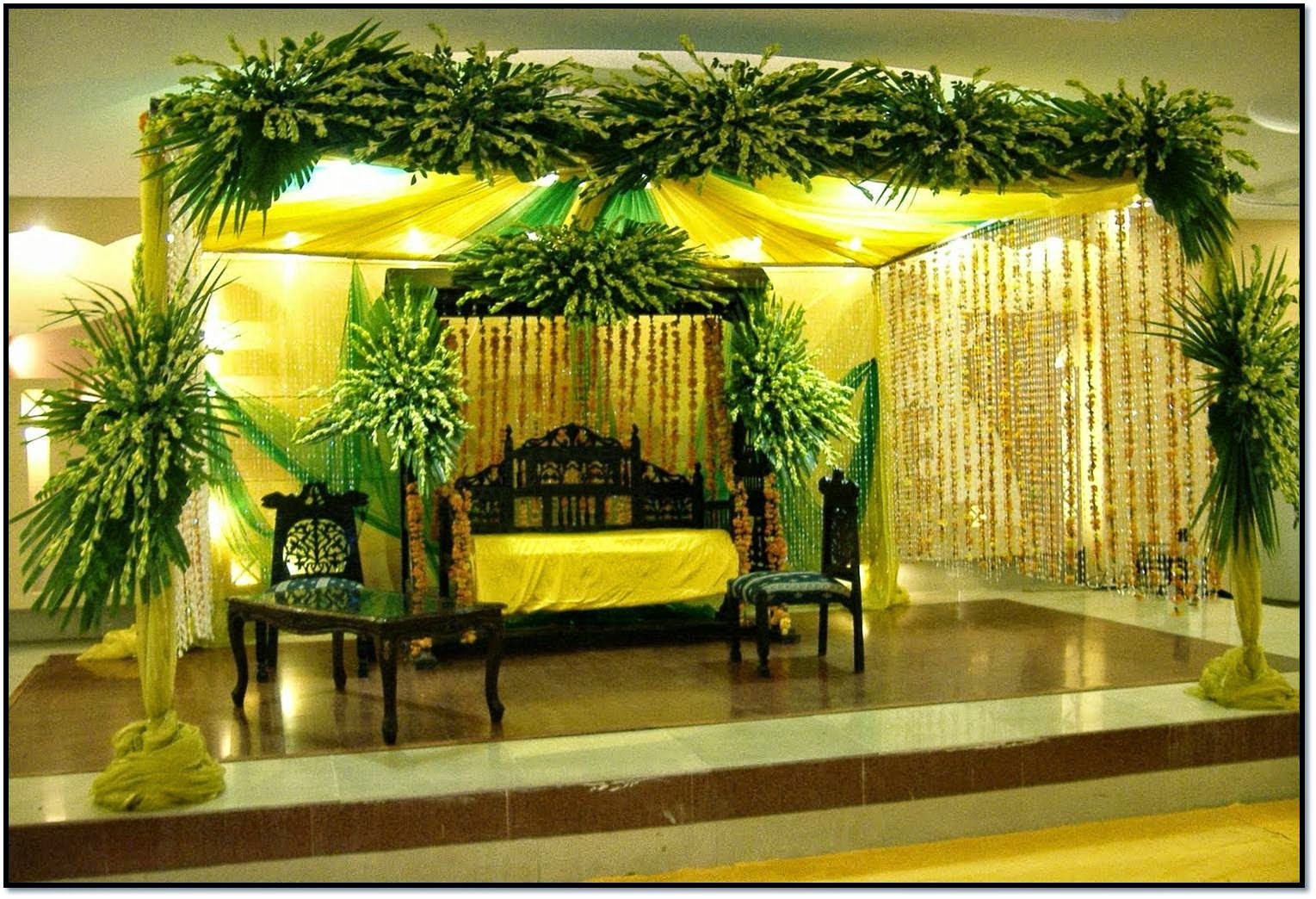 Mehndi Jhoola Decoration : Latest flower decoration and various items in foods