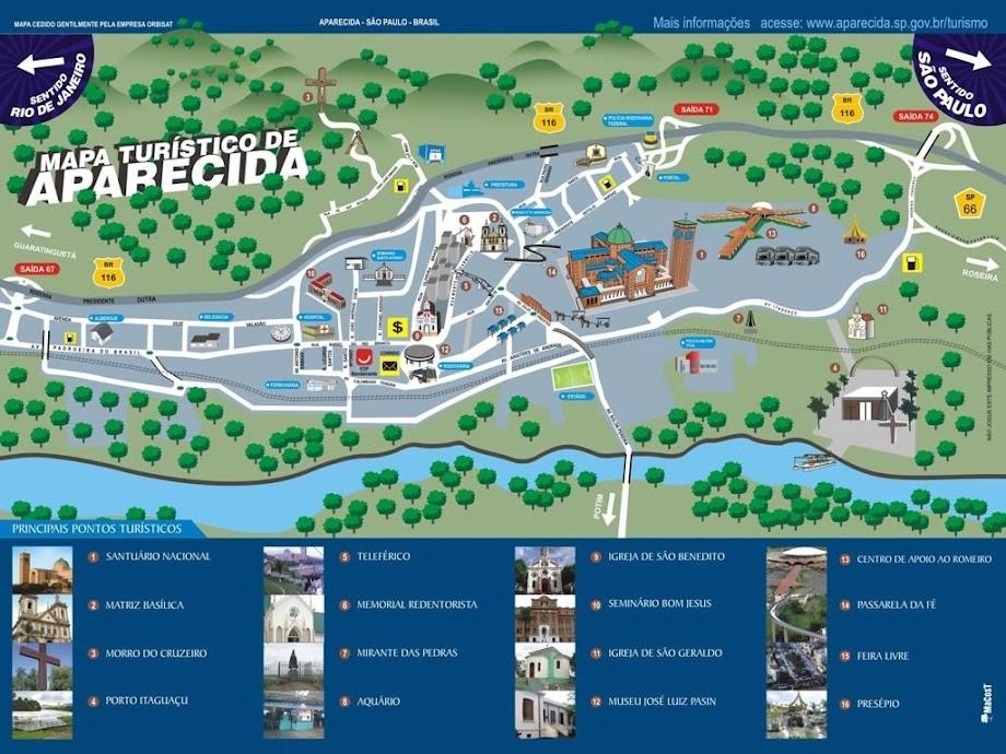 Mapa Turístico de Aparecida